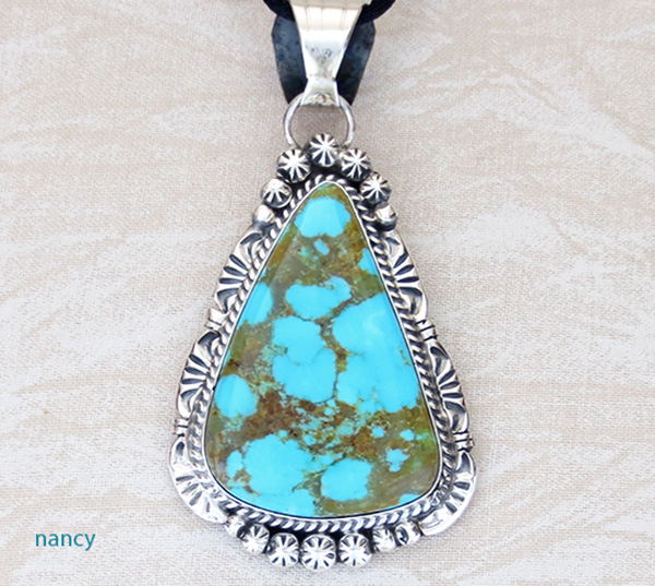 Image 0 of   Native American Jewelry Turquoise & Sterling Silver Pendant - 3912dt
