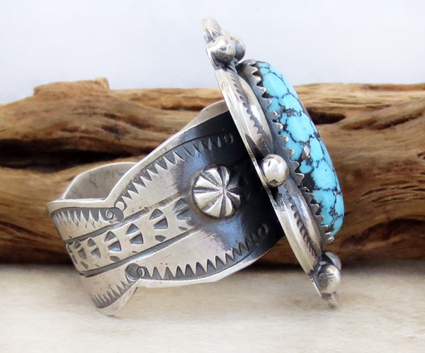 Image 1 of Kingman Web Turquoise & Sterling Silver Ring Size 10 Gilbert Tom - 1459dt