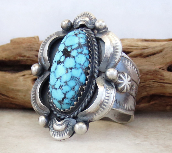 Image 2 of Kingman Web Turquoise & Sterling Silver Ring Size 10 Gilbert Tom - 1459dt