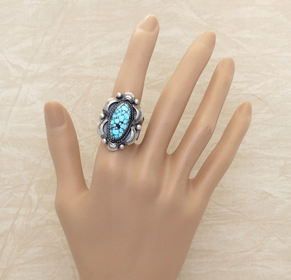 Image 4 of Kingman Web Turquoise & Sterling Silver Ring Size 10 Gilbert Tom - 1459dt