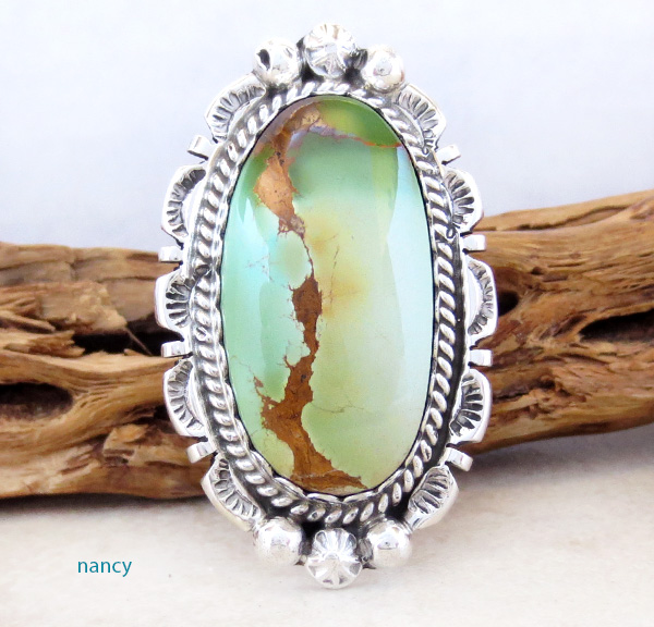 Image 0 of Large Turquoise & Sterling Silver Ring Size 8.5 A. Largo Navajo - 3258dt