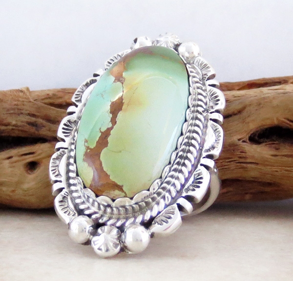 Image 2 of Large Turquoise & Sterling Silver Ring Size 8.5 A. Largo Navajo - 3258dt