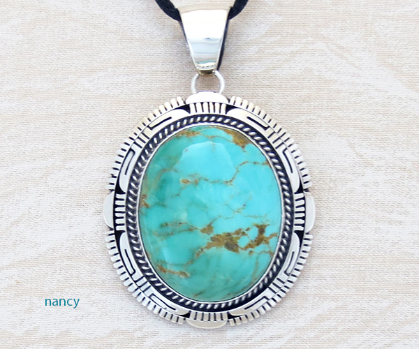Turquoise & Sterling Silver Pendant Elouise Kee Navajo - 1467dt