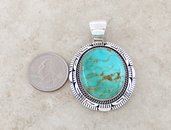 Image 1 of    Turquoise & Sterling Silver Pendant Elouise Kee Navajo - 1467dt