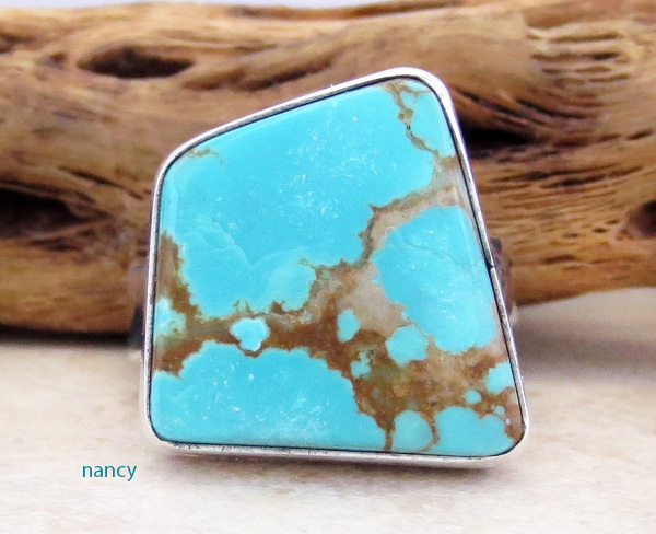Navajo #8 Mine Turquoise & Sterling Silver Ring Size 8.75 - 1468sn