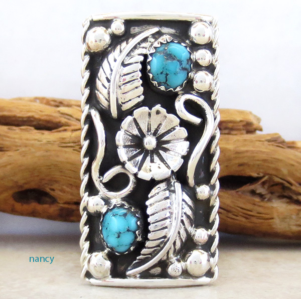 Image 0 of Sterling Silver & Turquoise Flower Ring Size 8.75 Nacajo - 3879dt