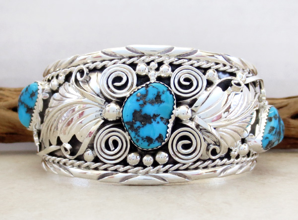 Image 0 of Large Turquoise & Sterling Silver Bracelet Thomas Yazzie - 1041rb