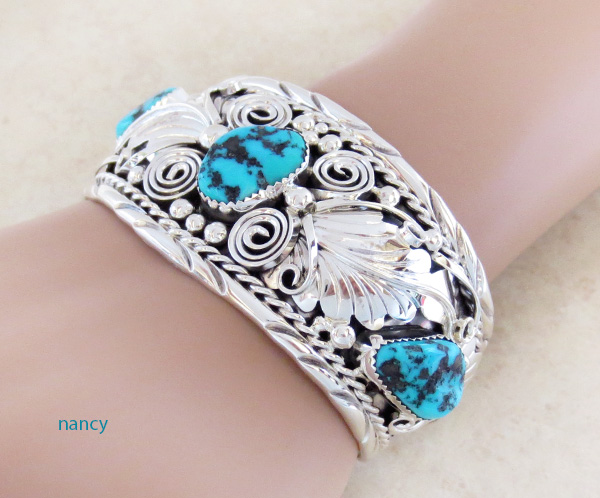 Image 1 of Large Turquoise & Sterling Silver Bracelet Thomas Yazzie - 1041rb