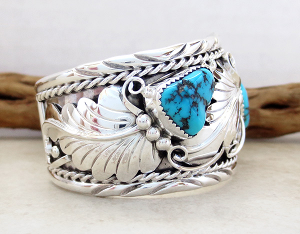 Image 2 of   Large Turquoise & Sterling Silver Bracelet Thomas Yazzie - 1041rb
