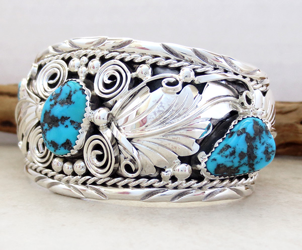 Image 3 of Large Turquoise & Sterling Silver Bracelet Thomas Yazzie - 1041rb