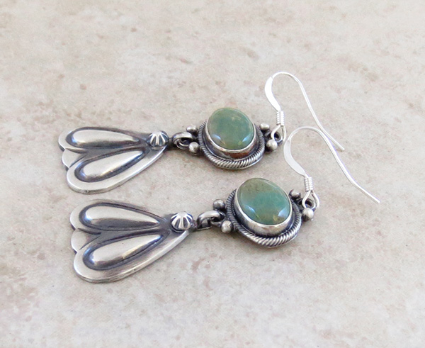 Image 1 of Green Turquoise & Sterling Silver Earrings Navajo Made - 3580rb
