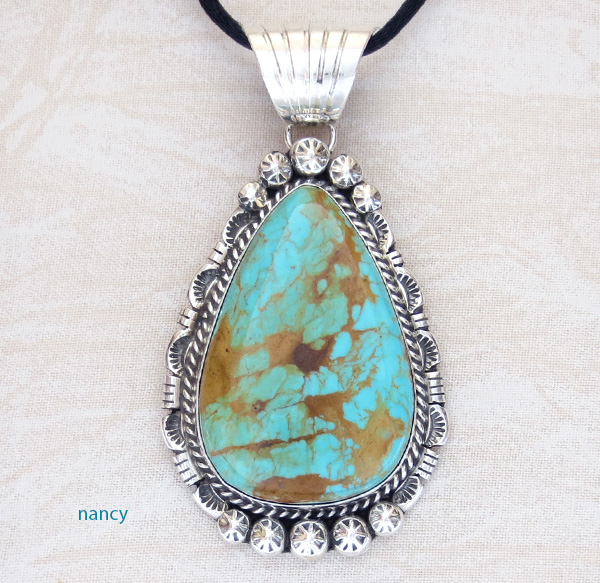 Image 0 of BIG Turquoise & Sterling Silver Pendant Augustine Largo - 1039dt