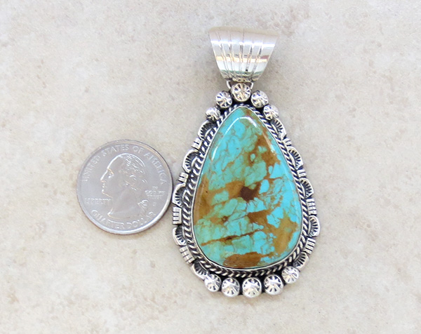 Image 1 of BIG Turquoise & Sterling Silver Pendant Augustine Largo - 1039dt