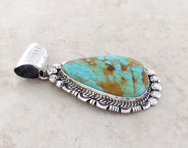 Image 2 of BIG Turquoise & Sterling Silver Pendant Augustine Largo - 1039dt