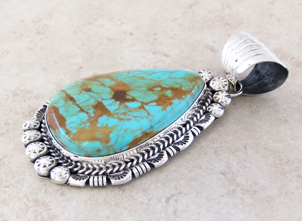 Image 3 of BIG Turquoise & Sterling Silver Pendant Augustine Largo - 1039dt