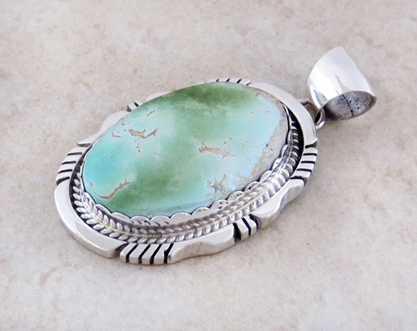 Image 3 of Green Royston Turquoise & Sterling Silver Pendant Elouise Kee - 3790dt