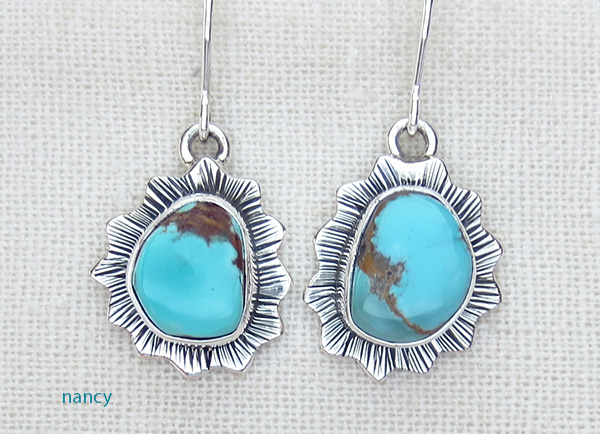 Small Turquoise & Sterling Silver Earrings Navajo Made - 3675sn
