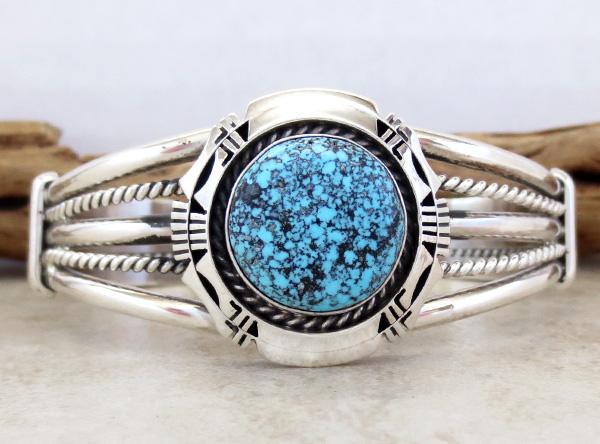 Image 0 of  Kingman Web Turquoise & Sterling Silver Bracelet Harley Jake - 3586dt