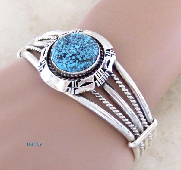 Image 1 of  Kingman Web Turquoise & Sterling Silver Bracelet Harley Jake - 3586dt