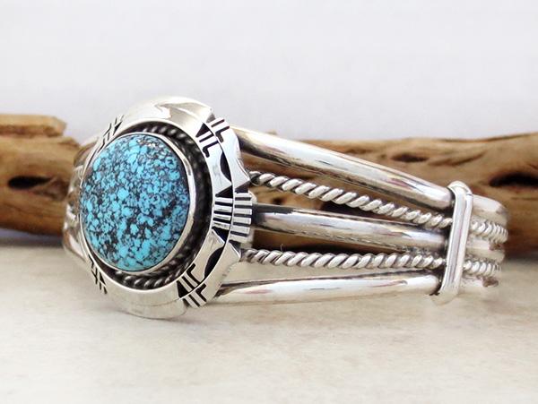 Image 3 of  Kingman Web Turquoise & Sterling Silver Bracelet Harley Jake - 3586dt