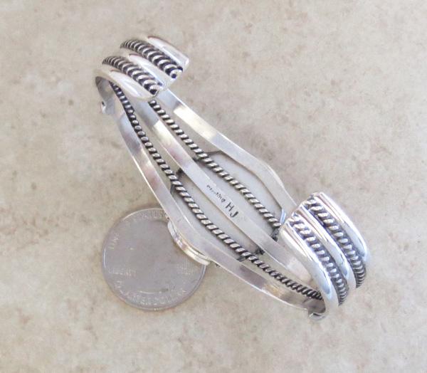 Image 4 of  Kingman Web Turquoise & Sterling Silver Bracelet Harley Jake - 3586dt