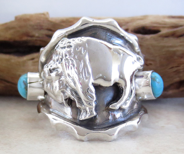 Sterling Silver & Turquoise Buffalo Ring Size 9 - 1251rb