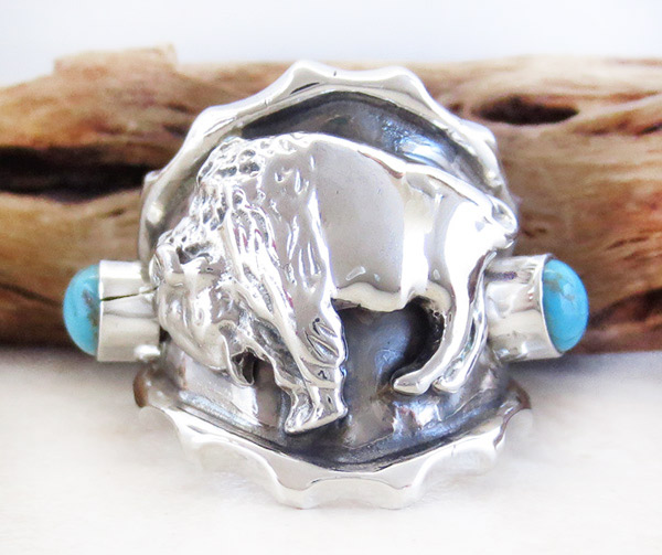 Image 0 of    Sterling Silver & Turquoise Buffalo Ring Size 9 Navajo Jewelry- 1251rb
