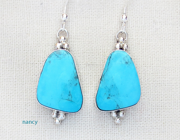 Image 0 of    Turquoise & Sterling Silver Earrings Renell Perry Navajo - 3916dt