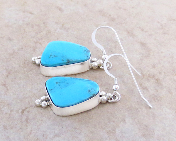 Image 1 of    Turquoise & Sterling Silver Earrings Renell Perry Navajo - 3916dt