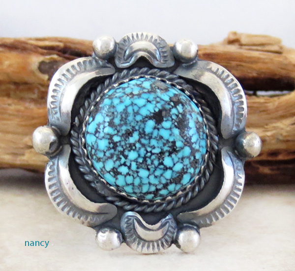 Natural Kingman Web Turquoise & Sterling Silver Ring Size 9 Gilbert Tom - 1739dt