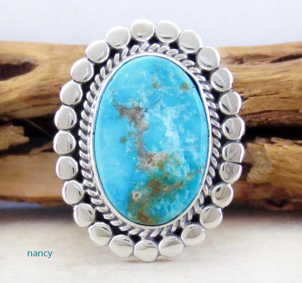 Kingman Turquoise & Sterling Silver Ring size 7 Joe Piaso Jr - 1256sn