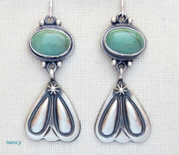 Green Turquoise & Sterling Silver Earrings Navajo Made - 1756rb