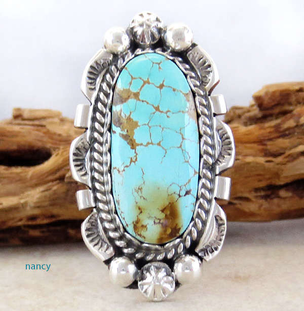 Image 0 of   Large Turquoise & Sterling Silver Ring Size 6.75 A. Largo Navajo - 1263dt