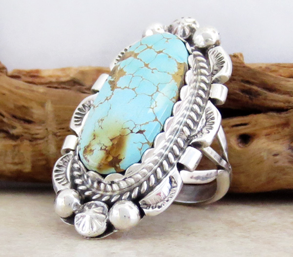 Image 2 of    Large Turquoise & Sterling Silver Ring Size 6.75 Native American - 1263dt