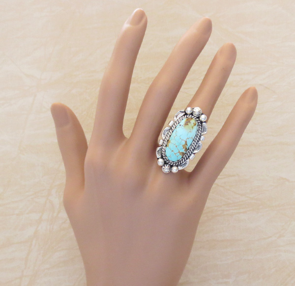 Image 4 of    Large Turquoise & Sterling Silver Ring Size 6.75 Native American - 1263dt