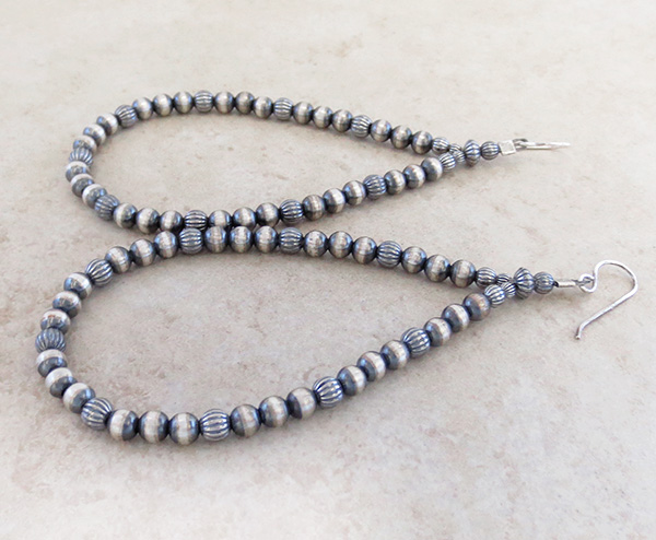 Image 1 of   Long Desert Pearls Sterling Silver Earrings Native American Jewelry - 3917rio