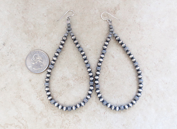 Image 2 of   Long Desert Pearls Sterling Silver Earrings Native American Jewelry - 3917rio