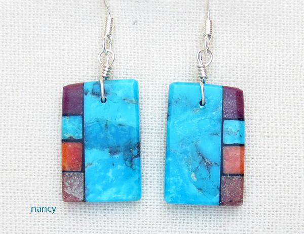 Mary Tafoya Turquoise Inlay Earrings Kewa - 3918mlt