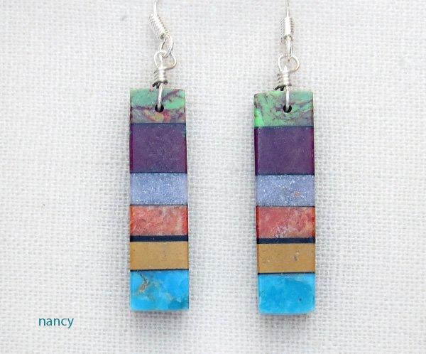 Image 0 of Turquoise Inlay Earrings Santo Domingo/Kewa Mary Tafoya - 2974mlt