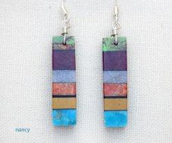 Turquoise Inlay Earrings Santo Domingo/Kewa Mary Tafoya - 2974mlt