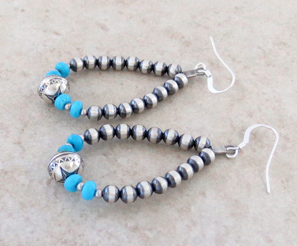 Image 1 of     Sterling Silver Desert Pearl & Turquoise Earrings - 3920rio