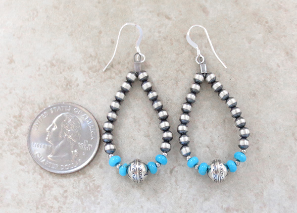 Image 2 of     Sterling Silver Desert Pearl & Turquoise Earrings - 3920rio