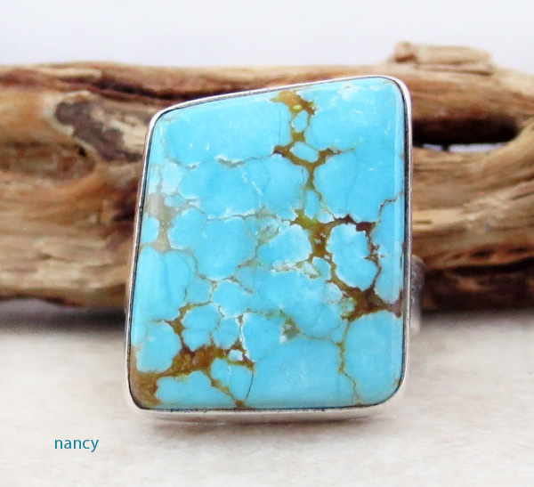 Navajo #8 Mine Turquoise & Sterling Silver Ring Size 7.75 - 2874sn