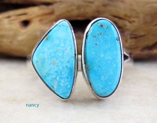 Neat Sterling Silver & Turquoise Ring Size 7 Navajo Made - 3352sn