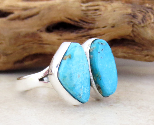 Image 2 of    Sterling Silver & Turquoise Ring Size 7 Navajo Jewelry - 3352sn