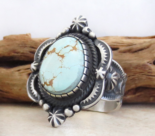 Image 2 of        Old Style Turquoise & Sterling Silver Ring Size 8 Bennie Ramone - 3356dt