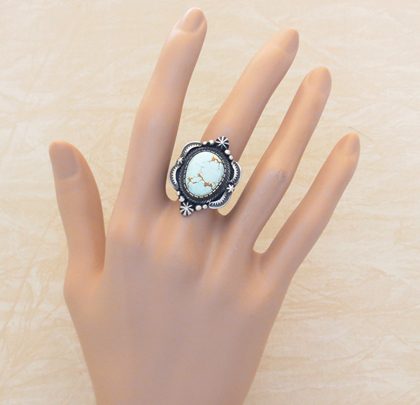 Image 4 of        Old Style Turquoise & Sterling Silver Ring Size 8 Bennie Ramone - 3356dt