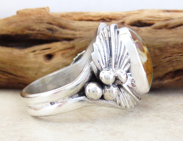 Image 1 of     Boulder Turquoise & Sterling Silver Ring Size 8.75 - 3357sn