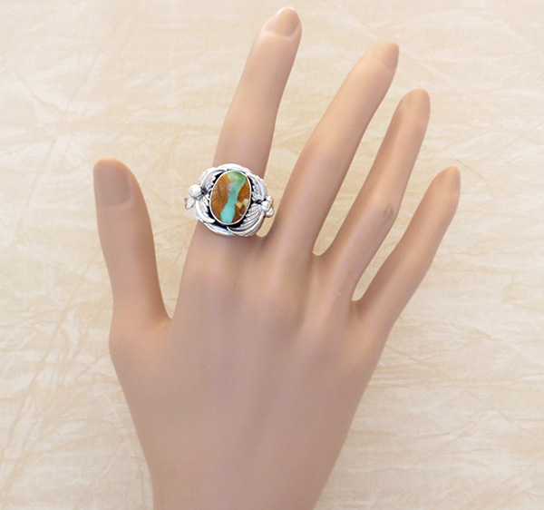 Image 4 of     Boulder Turquoise & Sterling Silver Ring Size 8.75 - 3357sn