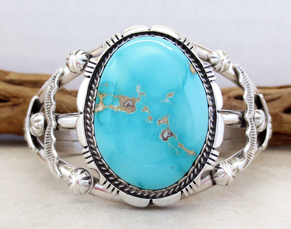 Big Royston Turquoise & Sterling Silver Bracelet Alfred Martinez - 3792dt